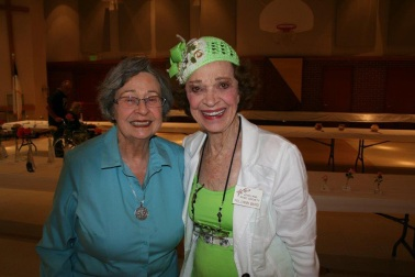 Joan Franson and Pollyann Baird at the loveland Rose Show 2014